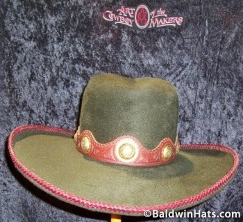 """""""Padrón"""" has a silk fur finish, a hatband of hand-tooled leather with gold conchas and fifty-one feet of Spanish lacing around the pencil-rolled brim."""