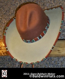 """""""Glendolene"""" is made from two blanks, the crown is """"whiskey"""" and the brim is """"willow"""" colored with custom-beaded hatband and brim, with porcupine quills added to the band."""
